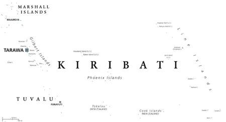 Kiribati Political Map With Capital Tarawa English Labeling