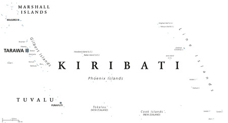 Kiribati political map with capital Tarawa. English labeling. Republic and island nation in the Pacific Ocean. Gray illustration on white background. Vector.