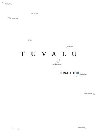 atoll: Tuvalu political map with capital Funafuti. English labeling. Formerly Ellice Islands, a Polynesian island nation in the Pacific Ocean. Gray illustration on white background. Vector.