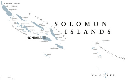 Solomon Islands political map with capital Honiara. English labeling. Sovereign country in Melanesia, Oceania. Gray illustration on white background. Vector. Illustration