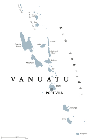 oceania: Vanuatu political map with capital Port Vila and English labeling. Republic, archipelago and island nation in the South Pacific Ocean. Gray illustration on white background. Vector.