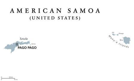 American Samoa political map with capital Pago Pago. Illustration