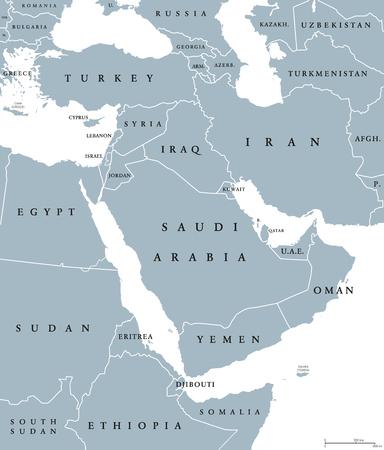 Mapa político del Medio Oriente con fronteras y etiquetado en inglés. Región transcontinental centrada en Asia occidental y Egipto en el norte de África, también conocida como Cercano Oriente. Ilustración gris sobre blanco. Vector. Foto de archivo - 83816929