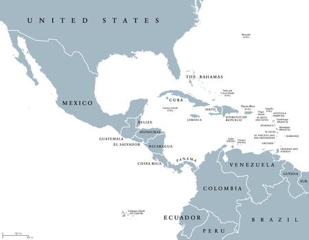 Mapa polityczna Ameryki Środkowej z granicami i etykietami w języku angielskim. Kraje południowej Ameryki Północnej, narody Ameryki Środkowej i Karaiby. Szara ilustracja na białym tle. Wektor.