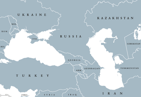 Black Sea and Caspian Sea region political map with countries, borders and English labeling. Bodies of water between Eastern Europe and Western Asia. Gray illustration. Vector. Illustration