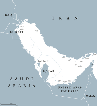 Persian Gulf region countries political map with English labeling. Body of water and extension of Indian Ocean through Strait of Hormuz between Iran and Arabian Peninsula. Gray illustration. Vector.