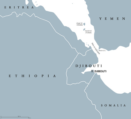 Bab el Mandeb Strait region political map. English labeling. Connects Red Sea and Gulf of Aden between Yemen on Arabian Peninsula and Djibouti and Eritrea in Horn of Africa. Gray illustration. Vector. Ilustrace