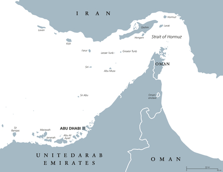 ホルムズ海峡地域の政治的な地図。英語のラベルします。ペルシャ湾とオマーン湾の間の海峡。ペルシャ湾から外洋への唯一の海水通路。灰色図。