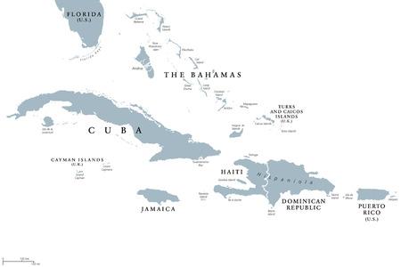 Größere Antillen politische Karte mit englischer Kennzeichnung. Gruppierung der größeren Inseln im Karibischen Meer mit Kuba, Hispaniola, Puerto Rico, Jamaika und den Cayman-Inseln. Graue Abbildung. Vektor.
