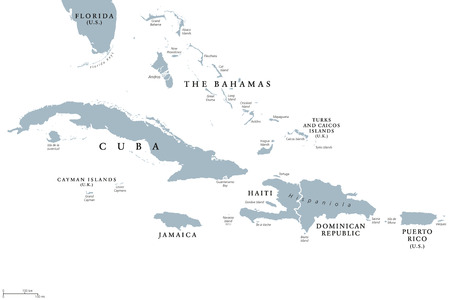 Greater Antilles political map with English labeling. Grouping of the larger islands in the Caribbean Sea with Cuba, Hispaniola, Puerto Rico, Jamaica and the Cayman Islands. Gray illustration. Vector. Vettoriali