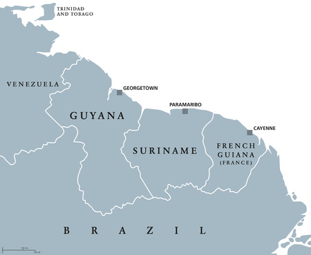 Guyana, Suriname and French Guiana political map with capitals Georgetown, Paramaribo and Cayenne. English labeling. Also the Guayanas, a region in northern South America. Gray illustration. Vector.