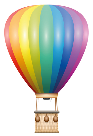 heated: Captive balloon - rainbow colored flying vehicle with basket and sandbags - isolated vector illustration on white background. Illustration