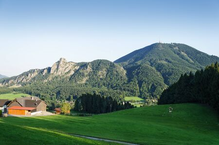 Gaisberg with Nockstein in Austria, Europe. Hausberg of Salzburg. View from Heuberg. Gaisberg belongs to Salzkammergut Mountains, a range of Northern Limestone Alps. Foothill of Osthorn Group. Photo. Stock Photo