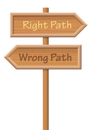 Guidepost showing the right path and the wrong path, pointing into opposite directions - isolated vector illustration on white background. Illustration