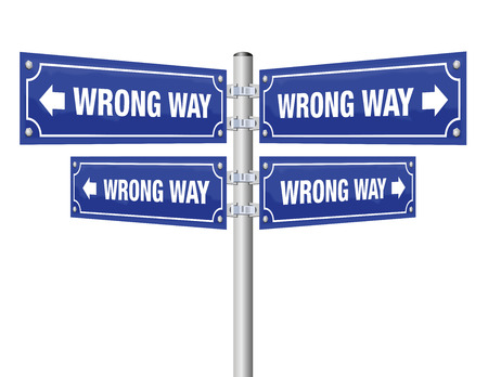 Wrong way guidepost showing in four different directions that lead always to an incorrect destination - symbolic for misconduct, pessimism, wrongdoing, misstep and other false choices or decisions.
