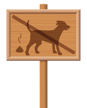 No dog poop zone - wooden signboard with crossed out dog. Illustration