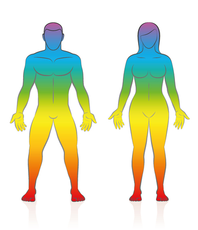 Sagome di corpo maschile e femminile - illustrazione vettoriale di una coppia di amore in piedi con il colore della pelle gradiente arcobaleno, simbolico per la guarigione di energia spirituale, il benessere sano o fitness sportivo. Archivio Fotografico - 84628124