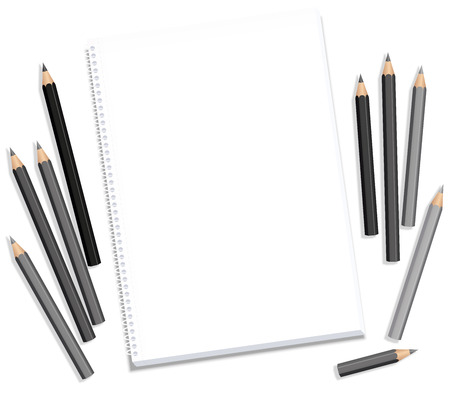 Drawing block and gray pencils - blank paper pad longing after artistic creation - isolated vector illustration on white background. Çizim