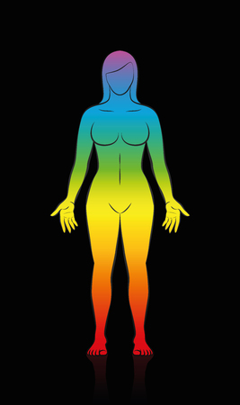 Female body - rainbow colored silhouette of a woman Illustration