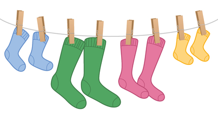 Clothes line with wool socks, family set Stok Fotoğraf - 85781826