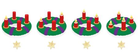 1 つ、2 つ、3 つと 4 つの明るい赤とアドベント リースの第二に、3 番目と 4 番目のアドベントの日曜日、最初に時系列順に燃焼時間ごとに異なる長  イラスト・ベクター素材