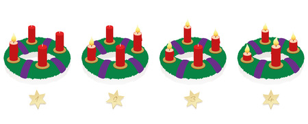 Advent wreath with one, two, three and four lighted red candles in different lengths depending on burning time in chronological order on first, second, third and fourth Sunday of Advent.