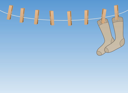 Lonesome socks hanging all alone on a clothes line - symbol for loneliness, solitude, sadness, melancholy of a single person or sorrow of secluded, withdrawn elderly people. Vector illustration. Illustration