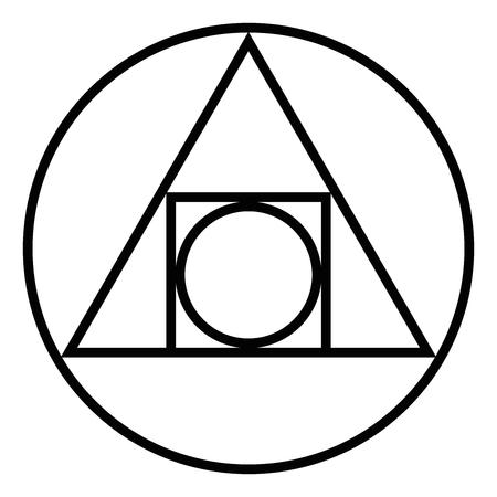 제곱 된 원입니다. 알 케미컬 글리프는 17 세기부터. 일러스트