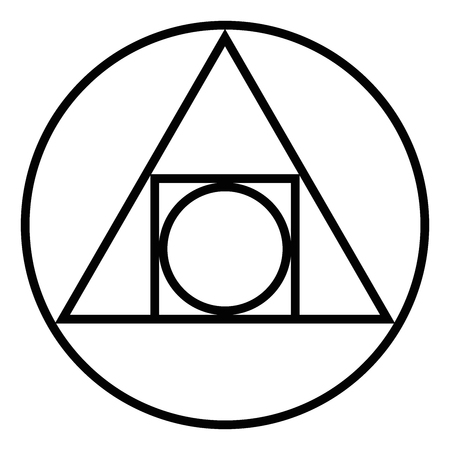 The Squared Circle. Al chemical glyph from seventeenth century. Illustration