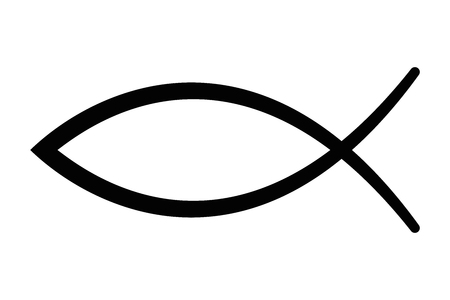 Sign of the fish, a symbol of Christian art, also known as Jesus fish. Symbol consisting of two intersecting arcs. Also called ichthys or ichthus, the Greek word for fish. Black illustration. Vector.