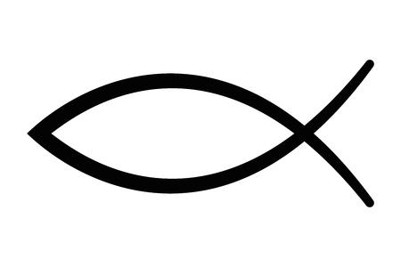Teken van de vis, een symbool van de christelijke kunst, ook bekend als Jezus vis. Symbool bestaande uit twee elkaar snijdende bogen. Wordt ook ichthys of ichthus genoemd, het Griekse woord voor vis. Zwarte illustratie. Vector.