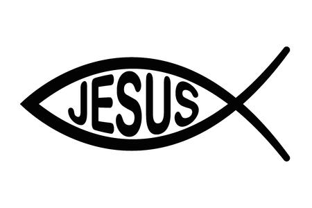 Jezus vis-symbool. Teken van de vis, een symbool van christelijke kunst met letters JEZUS. Symbool bestaande uit twee elkaar kruisende bogen, ook ichthys of ichthus, Grieks woord voor vis. Zwarte illustratie. Vector.