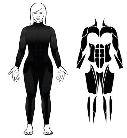 Neoprenanzug - Frau im schwarzen Taucheranzug und abstrakte schwarze Figur oder Symbol der größten weiblichen Muskeln - isolierte Vektor-Illustration auf weißem Hintergrund.