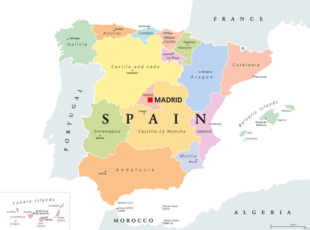 Autonomous communities of Spain political map. Administrative divisions of the Kingdom of Spain with their capitals. Municipalities, provinces and subdivisions. English labeling. Illustration. Vector. Иллюстрация