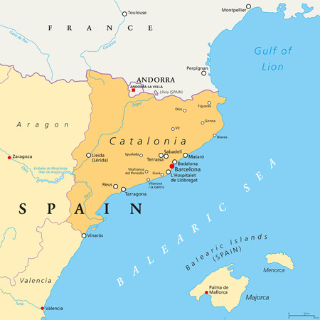 Catalonia political map with capital Barcelona