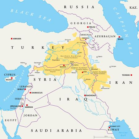 Kurdistan region political map. Kurdish inhabited areas in the middle east. Northern, Western, Eastern and Southern Kurdistan in Turkey, Syria, Iraq and Iran. English labeling. Illustration. Vector.