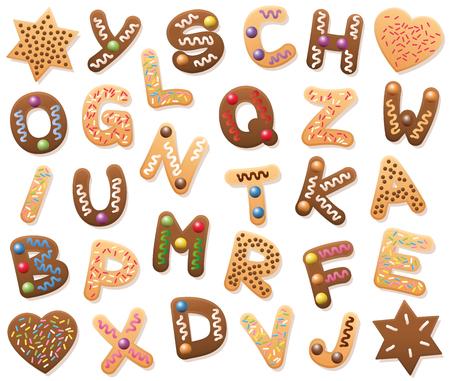Kerstkoekjes ABC - losjes gerangschikt. Zoek alle letters van het alfabet, of breng de gemixte letters in de juiste volgorde van A tot Z. Educatief spelplezier voor kinderen van alle leeftijden. Stock Illustratie