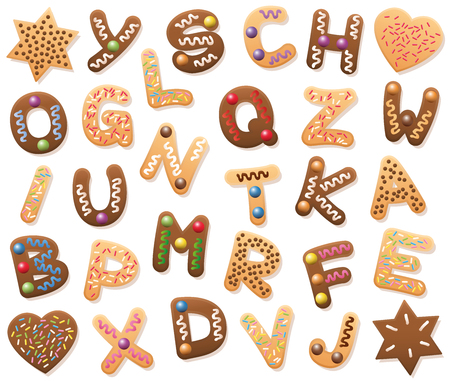 Christmas cookies ABC - loosely arranged. Find all letters of the alphabet, or bring the mixed up letters in the right order from A to Z. Educational game fun for kids of all ages. Illustration
