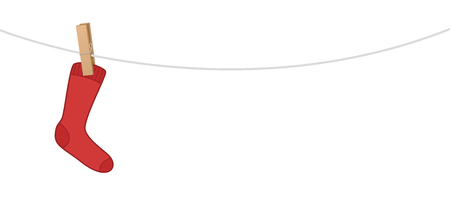 Single red sock hanging on a clothes line - symbol for loneliness, solitude, sadness, melancholy of a single person or sorrow or secluded, withdrawn elderly people. Vector illustration.