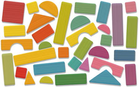 Building toy blocks - colored set, loosely arranged with bricks, roofs, spires, pillars and archs - all parts with wooden texture. Isolated vector illustration on white background. Illustration