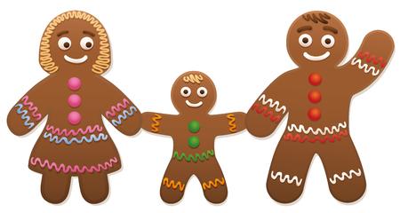 心 - かわいいクリスマス クッキー ジンジャーブレッド愛のカップル。  イラスト・ベクター素材