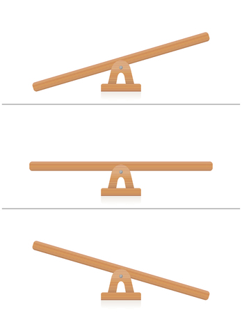 Seesaw or wooden balance scale - balanced and unbalanced, equal and unequal weightiness - isolated vector illustration on white background.