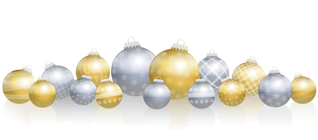Christmas balls - loosely arranged gold and silver still life - isolated vector illustration over white background. Illustration