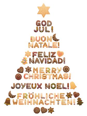 FROHE WEIHNACHTEN - geschrieben auf schwedische, italienische, spanische, englische, französische und deutsche Sprache mit den Plätzchen, die einen süßen Weihnachtsbaum bilden.