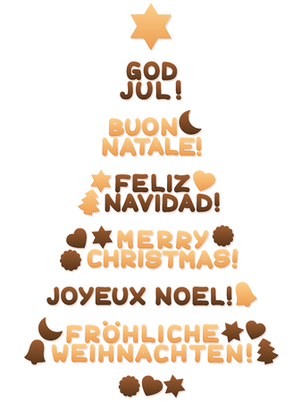 Cookies forming a Christmas tree and wishing MERRY CHRISTMAS in different languages on white background.