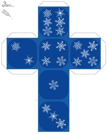 Doe het zelf sneeuwvlok dobbelstenen sjabloon op witte achtergrond. Stock Illustratie