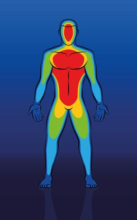 Illustration of thermal image of male body in front view.
