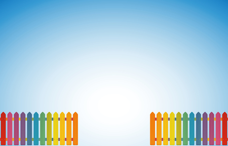 Garden entrance lined with two rainbow colored jolly fences - vector illustration on blue sky gradient background and luminous white center.