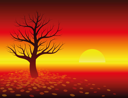 Autumn atmosphere - sunset in glowing red landscape with leafless tree. Isolated vector illustration on warm red gradient background. Illustration
