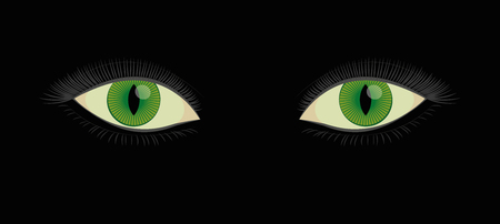 Green human cats eyes with slit pupils - beautiful, spooky, female mystic fantasy creature looking at you from darkness. Vector illustration on black background.